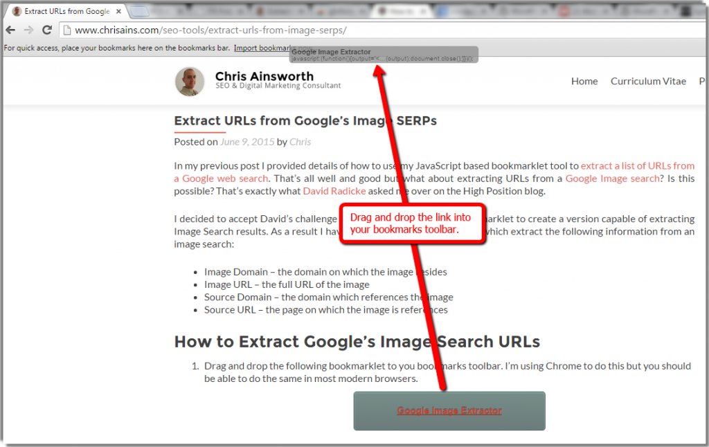 Extract URLs from Google's Image SERPs