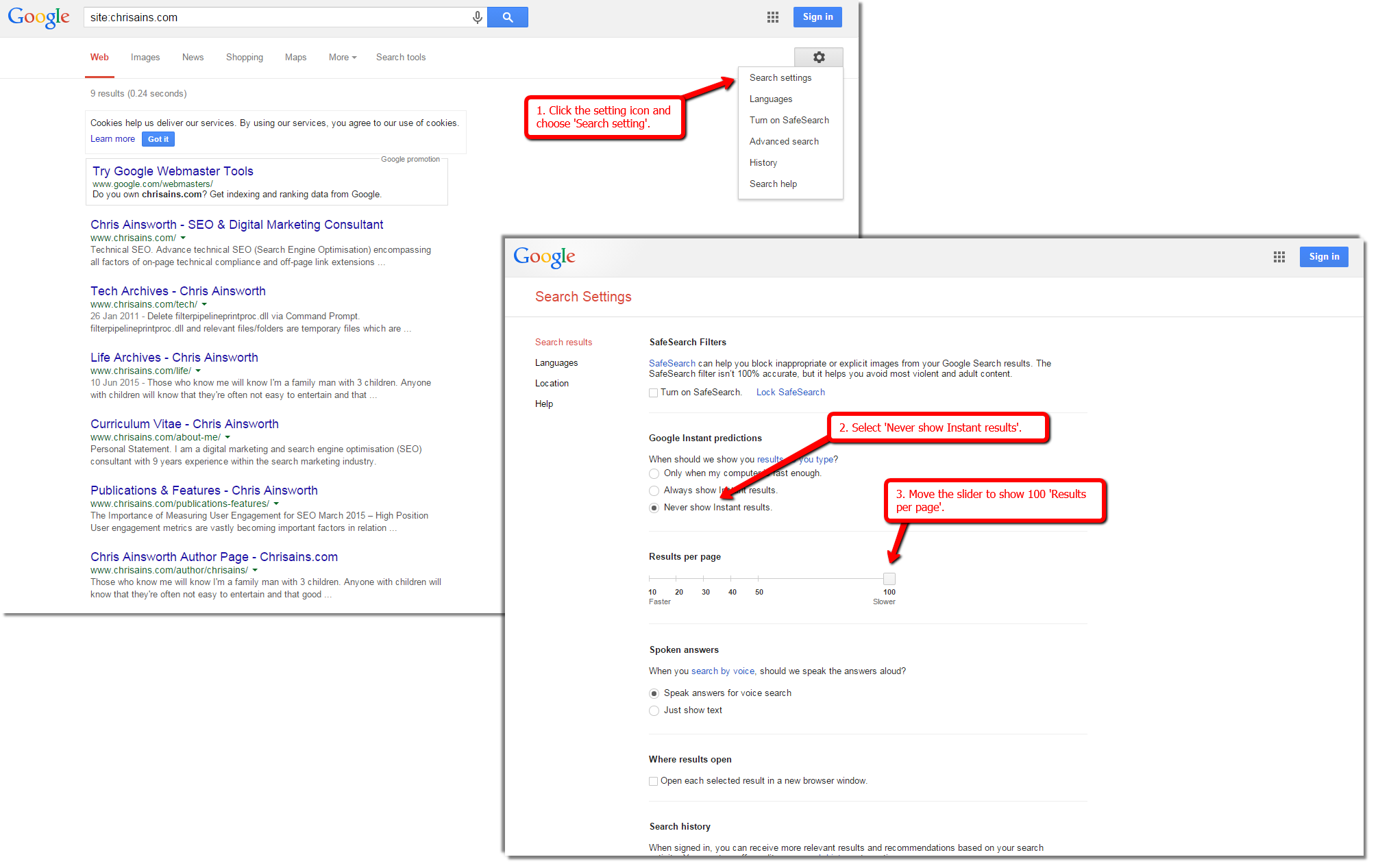 Extract URLs from Google's Web SERPs