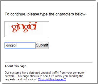Google Unusual Traffic Captcha
