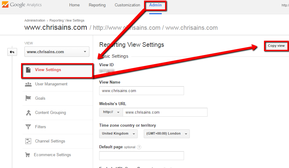 Clone a View in Google Analytics