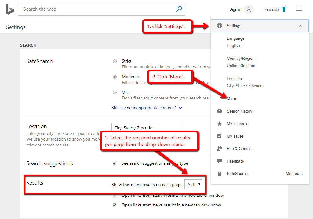 Bing Results Per Page Settings